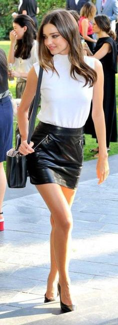 Model street style | Turtle neck cami with zipped high waisted leather skirt