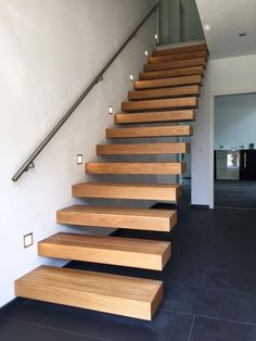 Kragarmtreppe Bayern - designed by TBS Staircase Storage, Wood Staircase, Staircase Design Modern, Modern Design, Queenslander House, Stair Detail, Floating Stairs, Wall Accessories, Casa Real