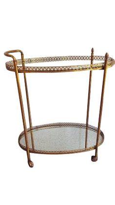 Vintage Gold Metal Tail Serving Bar Cart By Antiquevintagefind Carts Pinterest And