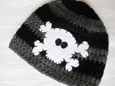 Skull and Bones Boy Baby/Toddler Hat sizes by hunkydoriboutique,