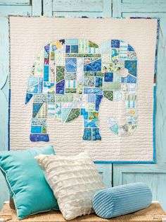 Ticker Tape Elephant Wall Hanging- Would be cute with other silhouettes.