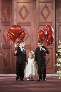 Valentine's Day Wedding-Flower Girl and Escorts. Wedding With Kids, Our Wedding, Dream Wedding, Wedding Goals, Wedding Planning, Marry Me, Wedding Trends, Wedding Pictures, Marie