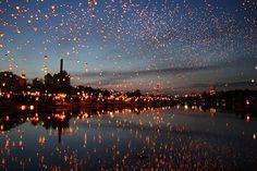 Midsummer Night Lantern Festival in Poznan, Poland