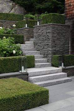 Garden paths serve primarily to connect two points. Landscaping On A Hill, Modern Landscaping, Sloped Backyard Landscaping, Landscaping Retaining Walls, Modern Landscape Design, Garden Landscape Design, Landscape Stairs, Modern Design, Patio Design