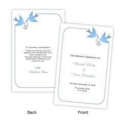 Folded Wedding Program Template  Blue Doves  DIY by AJsPrints