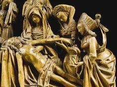 Lot   Sotheby. FLANDRE, ANVERS, VERS 1510 RELIEF AVEC LA LAMENTATION avec les marques gravées des marchands de bois sur l'arrière de chêne, sur une base de bois recouvert de velours gris relief:. 57,5 par 61.2cm