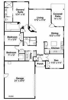 Prairie Style House Plan - 3 Beds 2 Baths 2091 Sq/Ft Plan #124-911 Floor Plan - Main Floor Plan - Houseplans.com