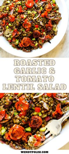 Looking for the perfect salad for meal prep?  This make-ahead Tomato Lentil Salad is so good!  It makes a fabulous vegan lunch, and is packed with protein and fiber.  #wendypolisi #vegetarian #vegan #salad #healthy #lunchrecipes #sidedish Healthy Salad Recipes, Lunch Recipes, Summer Recipes, Breakfast Recipes, Dinner Recipes, Roasted Tomatoes, Roasted Garlic, Keep Recipe, Protein Salad