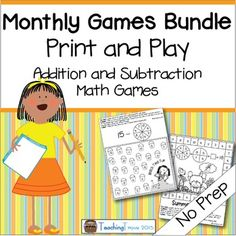Addition+and+Subtraction+Games+for+the+year+(a+growing+bundle)Addition+and+subtraction+NO+PREP+games+for+1+or+2+players+will+contain+220+printable+games+to+use+in+your+classroom.+Each+of+the+eleven+packs+(June+and+July+are+combined)+has+games+based+on+monthly+themes.