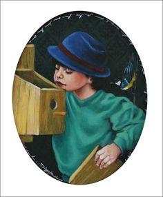 Artista: Diego Mendonça /Obra: O menino e o Passarinho/ Dimensão: 37x28cm /Técnica: Óleo sobre tela - MDF