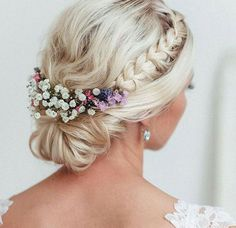 as hair ornaments are almost a must at a June wedding! Simply tol, Flowers as hair ornaments are almost a must at a June wedding! Simply tol, Flowers as hair ornaments are almost a must at a June wedding! Wedding Makeup Tips, Bride Makeup, Wedding Beauty, Hair Makeup, Romantic Bridal Updos, Bridal Hair Updo, Boho Wedding Hair Updo, Bridal Tips, Bridesmaid Makeup