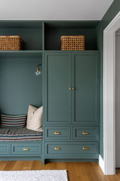 Whether you're leaning towards a softer sage green shade or plan to go bold with a dark emerald green, both light and dark green kitchen cabinets can create a fresh look. #greenkitchencabinets #painted #paintcolors #ideas #bhg Blue Green Kitchen, Green Kitchen Cabinets, Kitchen Cabinet Colors, Painting Kitchen Cabinets, Painted Bathroom Cabinets, Blue Green Paints, Green Paint Colors, Küchen Design, Layout Design