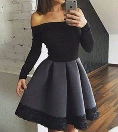 cool Elegant black ong sleeve short prom dress,evening dress,homecoming dress,dresses from Little Cute