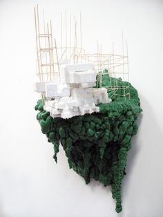 Aili Schmeltz, Slide – 2008  styrofoam, spray foam, latex paint, and wood