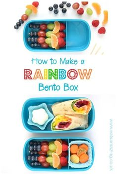 How to make a rainbow bento lunch with step by step tutorials and recipes - gorgeous fun and healthy rainbow food ideas for kids Bento Box Lunch For Kids, Cool Lunch Boxes, Healthy Lunches For Kids, Kids Meals, Lunch Ideas, Lunch Box Recipes, Wrap Recipes, Snack Recipes, Rainbow Fruit Skewers