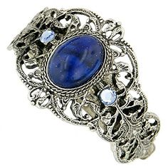1928 Jewelry Womens SilverTone Oval BlueLight Sapphire Crystal Ponytail Holder *** You can find more details by visiting the image link.