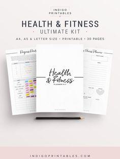 Planificateur de remise en forme, planificateur d'entraînement, santé Agenda, planificateur de bien-être, Fitness Journal, planificateur de perte de poids, Fitness Tracker, santé & Fitness