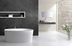 Bathroom Bathroom Interior Fancy Large Space Best Modern Bathroom Design With Stunning Oval White Ceramic Freestanding Bathtub Plus Cool Stainless Freestanding Bathtub Faucet And Exquisite Corner White Cerami Bathroom Picture