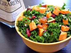 Sweet potato and kale salad (vegan). Roasted the sweet potato for 30 minutes and used balsamic vinaigrette dressing. Delicious!