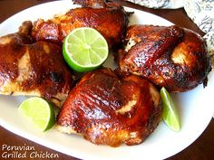 Peruvian Grilled Chicken with Green Chile Sauce - Pollo a la Brasa and Aji Verde