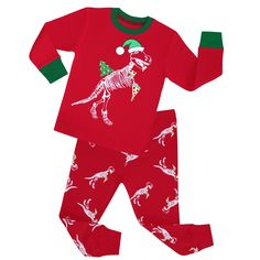 Little Girls Boys Dinosaur Deer Pajamas Children Cotton Christmas PJS Set  Size 2 To 8 Years 81f2de6ec