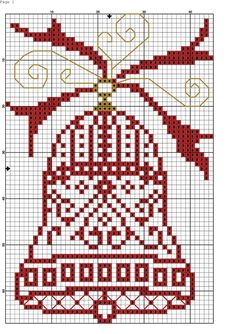 Red bell is for crossstitch pattern Cross Stitch Christmas Ornaments, Xmas Cross Stitch, Cross Stitch Love, Cross Stitch Borders, Christmas Embroidery, Christmas Cross, Cross Stitch Charts, Cross Stitch Designs, Cross Stitching
