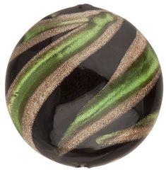 Murano Glass Bead Green, Black Missoni Round 16mm