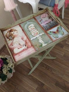 Vintage servis sehpasi - shabby chic - decoupage