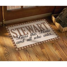 "Personalized ""Bless All Who Enter"" Doormat, Tan, 17"" x 27"""