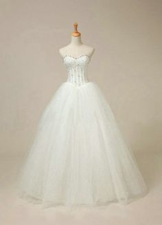 Hand-Bead White Strapless Net Wedding Gown