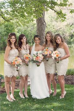 LOVE the lacey bridesmaid dresses and the whole wedding!