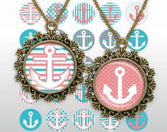Nautical Coral pink White Teal 1inch 16mm 1.5 inch round Digital Collage Sheet Printable images for pendant cabochon by BaikalGraphics, $3.50