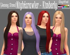 Nightcrawler Kimberly Hair Clayified by Jenny Sims @darkosims3 Kimberly Hair Clayified Comes in all 18 EA colors/textures, plus 4 extra colors. I decided to play around with colors a little. * You...