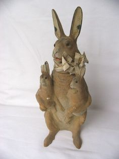 Vintage Paper Mache Rabbit Holding Baby Bunnies Candy Container Plaster | eBay