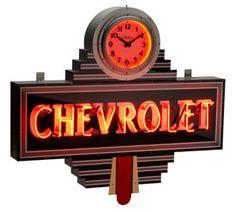 Chevrolet Art Deco Clock Dealer Neon Sign-Chevy Mall