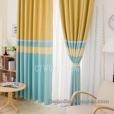 Blue And Yellow Curtains Prints