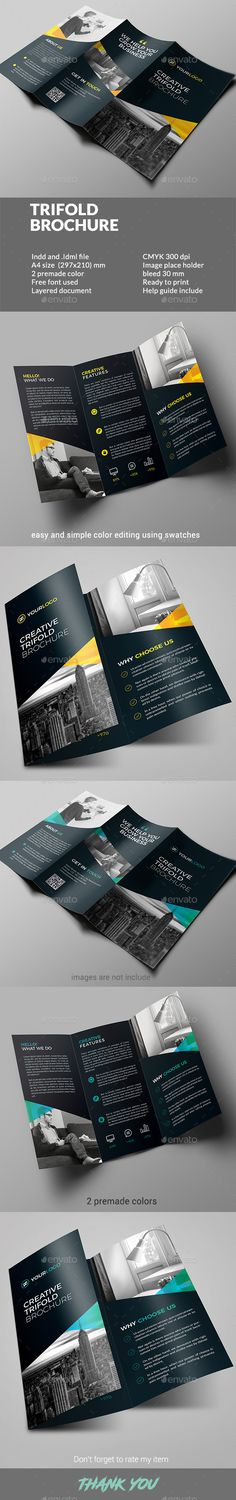 Trifold Brochure - Corporate #Brochures Download here: https://graphicriver.net/item/trifold-brochure/19533861?ref=alena994