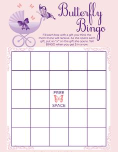 Printable Butterfly baby shower bingo Each print comes with instructions! Get it here: http://printmybabyshower.com/butterfly-baby-shower-printable-invitations-and-decorations/