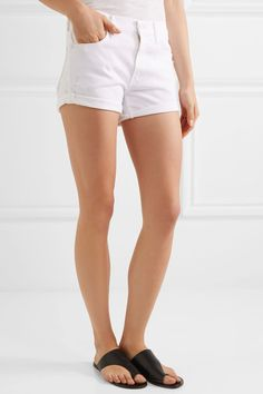 Mother - The Teaser Distressed Stretch-denim Shorts - White - 31