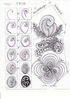zentangle pattern trio by zenjoy