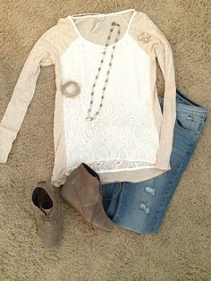 Neutral, casual, lace, worn denim, wedge boots- totally my style (stitch fix)