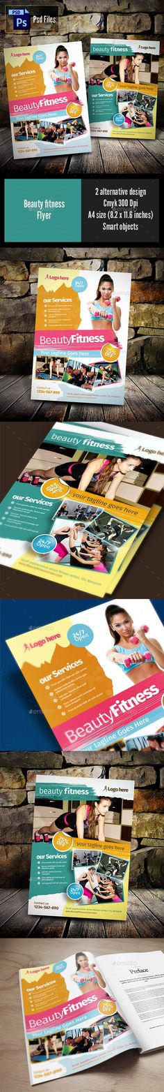 Beauty Fitness Flyer Template PSD #design Download: http://graphicriver.net/item/beauty-fitness/14153200?ref=ksioks