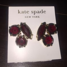 Kate Spade New York Garnet Gold earrings studs NEW Brand new. Kate Spade New York stud earrings   Garnet and gold. Retail $59. Comes with Kate Spade dust bag. kate spade Jewelry Earrings