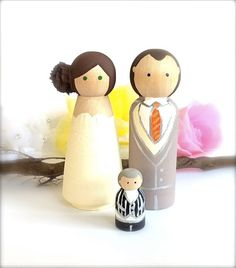 Custom Wedding Cake Toppers Family of 3 Bride Groom Small Child Baby Toddler Wood Peg Doll Keepsake Proposal Bridal Shower Cute