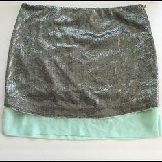 MASSIMO DUTTI SEQUIN SKIRT EUC silver and mint green. Massimo Dutti Skirts Mini