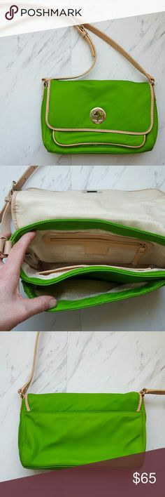 SALE! Kate Spade Green Crossbody Bag PRICE REDUCED FOR A QUICK SALE !   Beautiful Kate Spade crossbody bag in a lime green color with silver accents and light tan leather strap. Front pocket and 3 interior, script pattern lining. This bag is in really shape with some signs of wear that I have documented in the last photograph. Kate Spade makes high quality bags so this one has a lot life left ! Priced accordingly due to wear. kate spade Bags Crossbody Bags