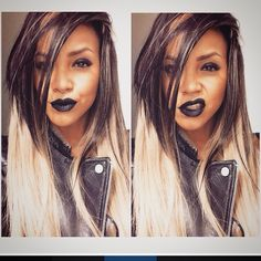 """Ice blond Indian hair by Chierah hair & beauty    ice blond ft black  Used inches  24 22 20 18 """" @missrachelrs  Black lipstick Rocks ✌"""