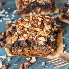 Use shortcuts to make these Chocolate Coconut Cookie Bars. It combines brownies, chocolate chip cookies, coconuts and pecans to make a semi-homemade treat!