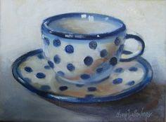 Blue and white polka dot cuppa