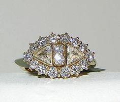 18 Karat Yellow Gold Custom Triangular Diamond Ring